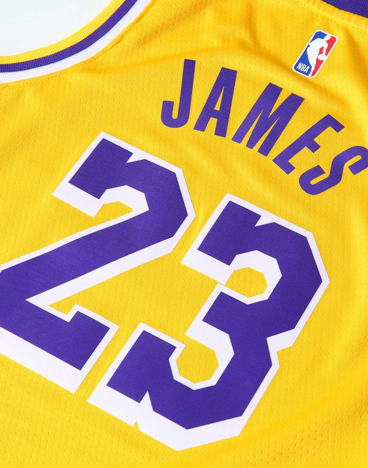 in stock 94c15 af1c6 Nike Kids Los Angeles Lakers LeBron James #23 Icon Swingman NBA Jersey  Yellow