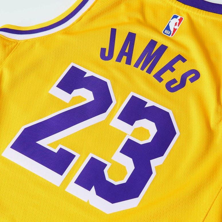 Nike Kids Los Angeles Lakers LeBron James  23 Icon Swingman NBA Jersey  Yellow ae4b75a6b