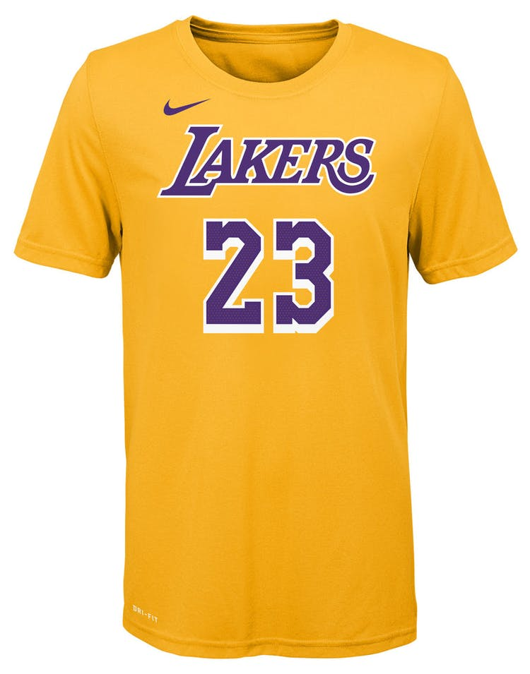 c402bb5a3a5 Nike Boys Los Angeles Lakers LeBron James #23 Icon N&N Tee Yellow – Culture  Kings