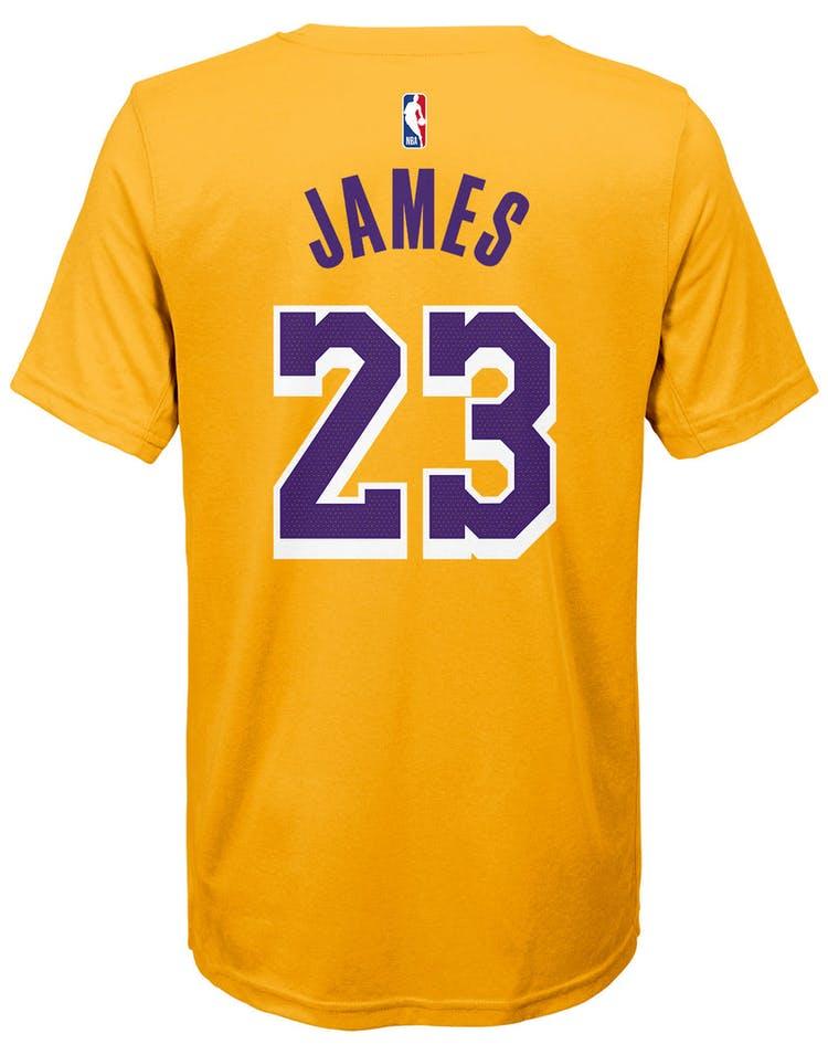 size 40 c6bff 71429 Nike Boys Los Angeles Lakers LeBron James #23 Icon N&N Tee Yellow