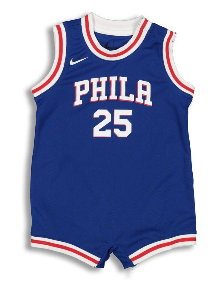 online store 6f6f8 d192e Nike Infant Philadelphia 76ers Ben Simmons #25 Replica Onesie NBA Jersey  Blue