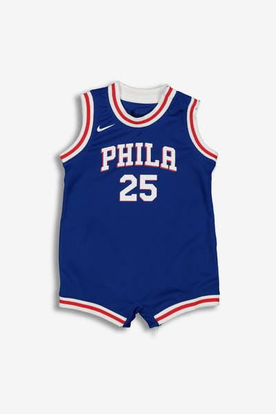 8058fe6f9 Nike Infant Philadelphia 76ers Ben Simmons  25 Replica Onesie NBA Jersey  Blue