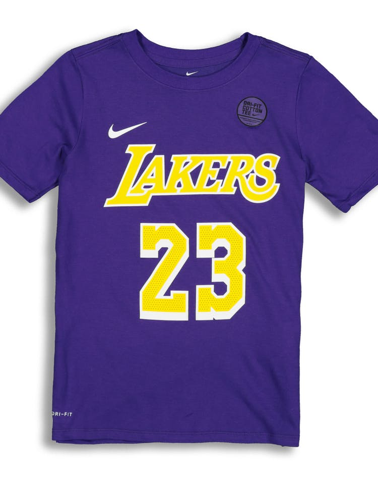 official photos 78ac6 6cb11 Nike Boys Los Angeles Lakers LeBron James #23 Statement N&N Tee Purple