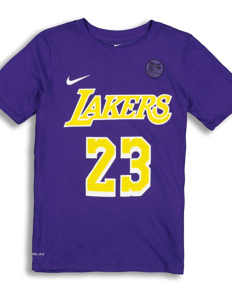 official photos ec5c1 0ffd2 Nike Boys Los Angeles Lakers LeBron James #23 Statement N&N Tee Purple