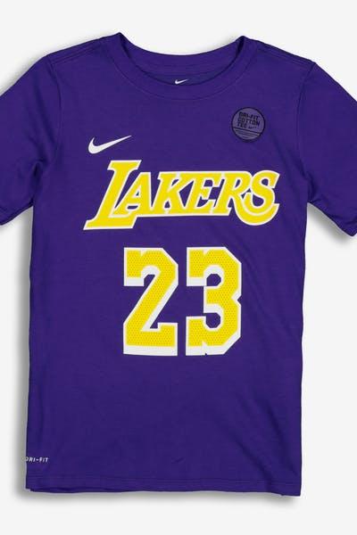 6ee43fb06d86 Nike Boys Los Angeles Lakers LeBron James  23 Statement N N Tee Purple