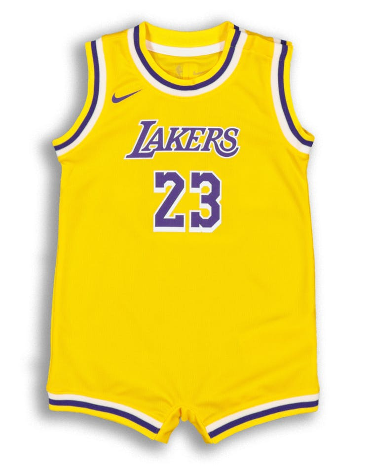 brand new 79ec9 d2316 Nike Infant Los Angeles Lakers LeBron James #23 Replica Onesie NBA Jersey  Yellow