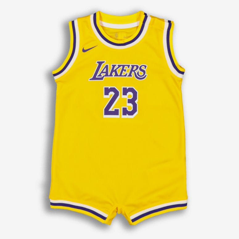 dbeb62a56 Nike Infant Los Angeles Lakers LeBron James  23 Replica Onesie NBA Jer –  Culture Kings