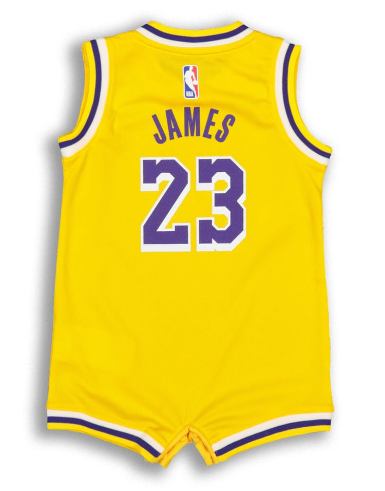 brand new 94cf0 e1cd6 Nike Infant Los Angeles Lakers LeBron James #23 Replica Onesie NBA Jersey  Yellow