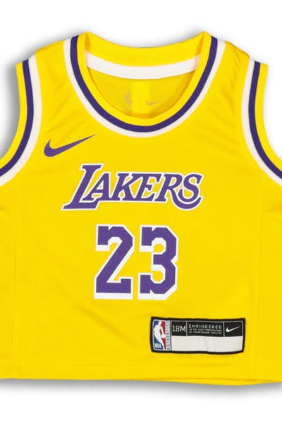 a20bf6afe4e Nike INFANT Los Angeles Lakers LeBron James  23 REPLICA JERSEY ICON EDITION  Yellow