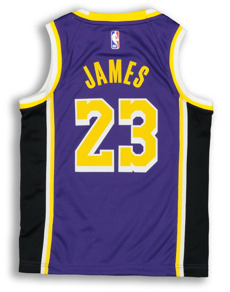 best website 82c4e 827e7 Nike Kids Los Angeles Lakers LeBron James #23 Statement Swingman NBA Jersey  Purple