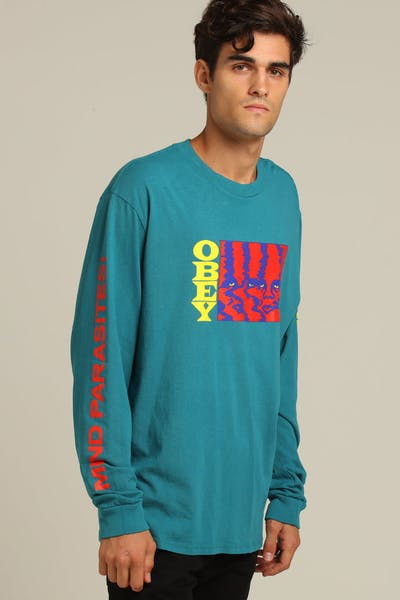 OBEY Mind Parasites LS Tee Dusty Teal