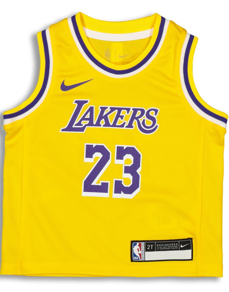 6ce99ef88e8 Nike Toddler Los Angeles Lakers LeBron James  23 Replica Jersey Icon E –  Culture Kings