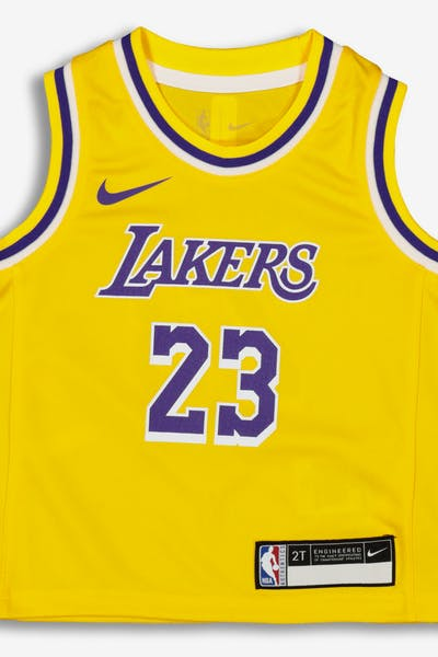 309566560394 Nike Toddler Los Angeles Lakers LeBron James  23 Replica Jersey Icon  Edition Yellow