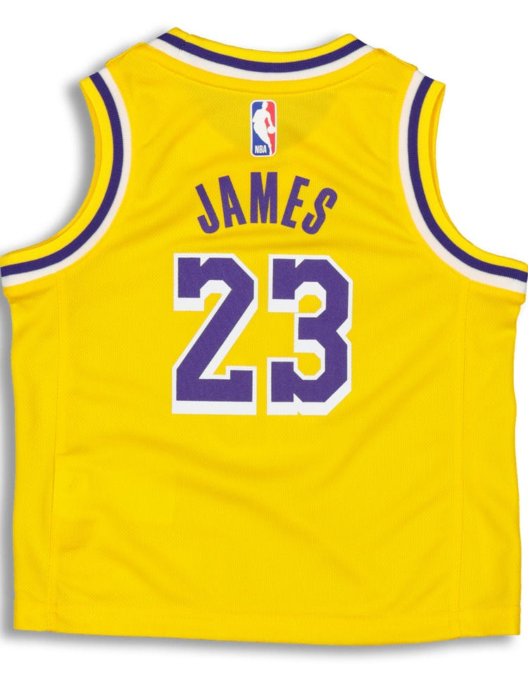 newest b2159 06fd5 Nike Toddler Los Angeles Lakers LeBron James #23 Replica Jersey Icon  Edition Yellow