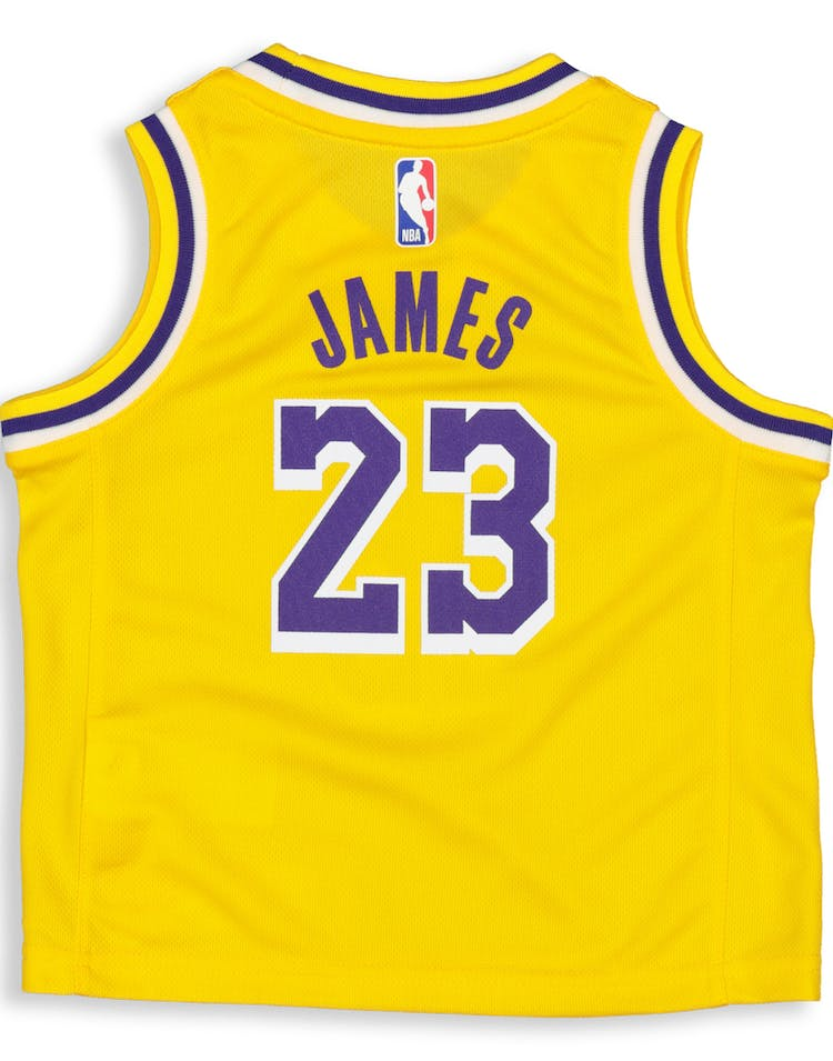 1562b77ccc81 Nike Toddler Los Angeles Lakers LeBron James  23 Replica Jersey Icon E –  Culture Kings
