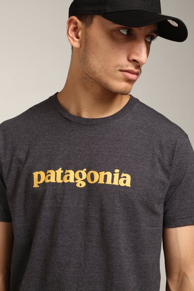 Patagonia Text Logo Tee Black/Gold