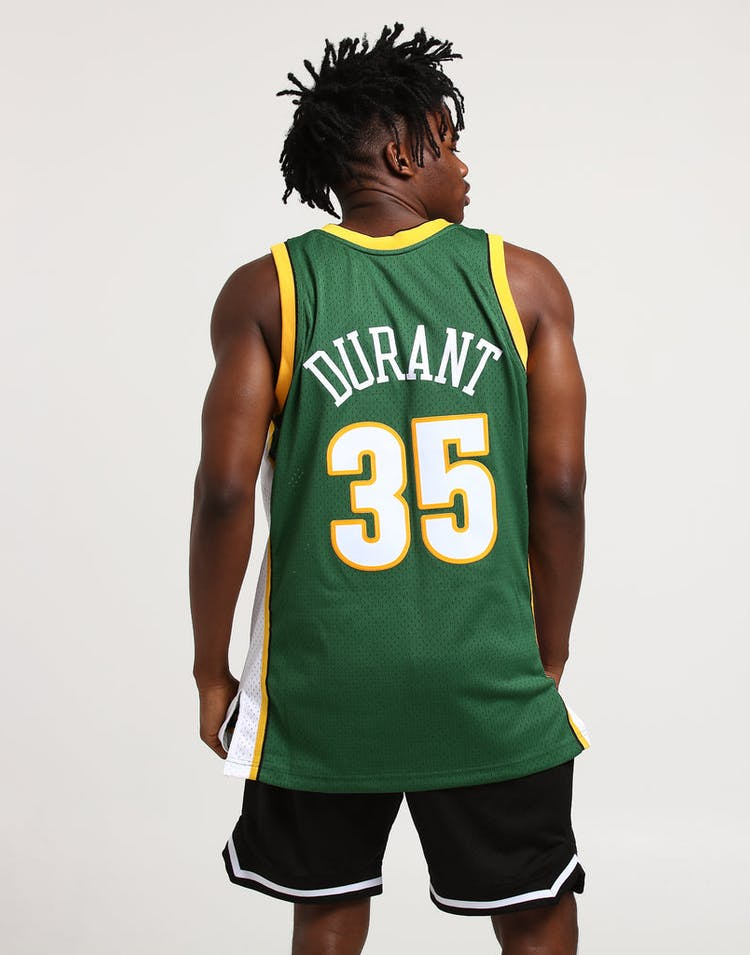 3908e0a3494 Mitchell   Ness Seattle Supersonics Kevin Durant  35 Swingman Jersey Green  White Yellow