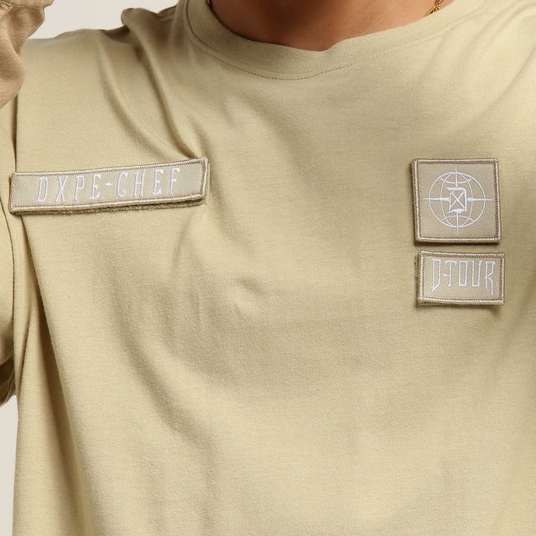 DXPE Chef Oversized Layered Camo Long Sleeve Tee Sand