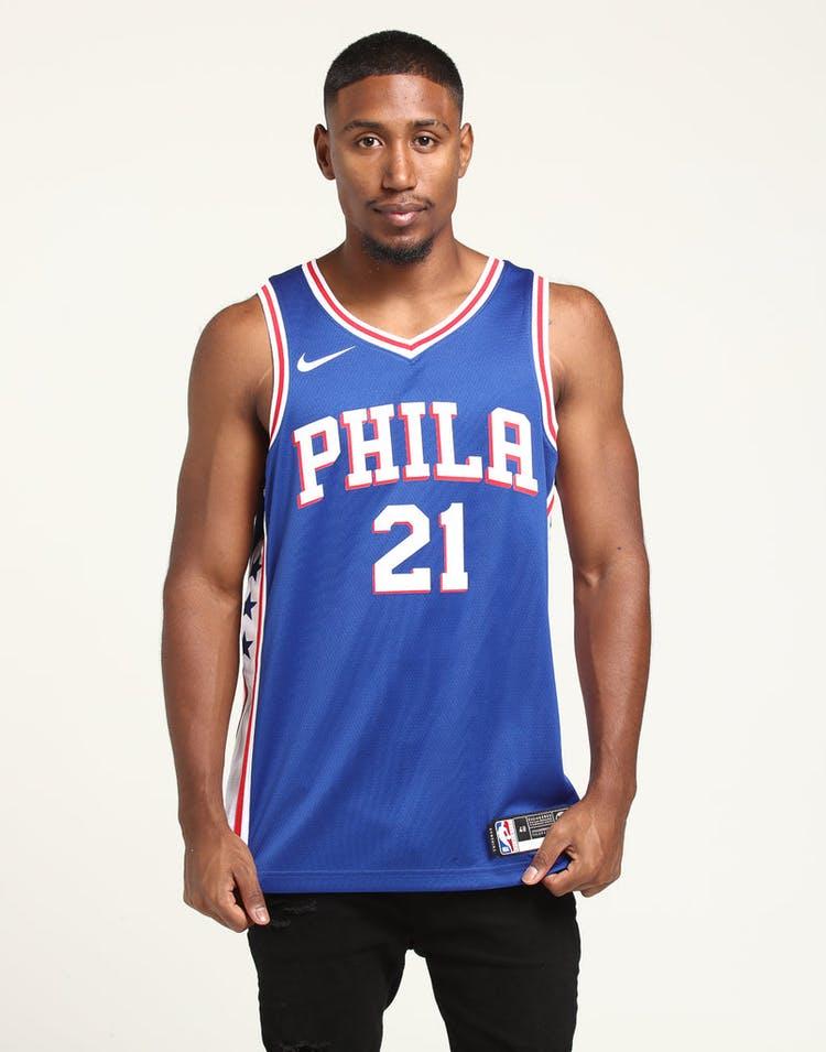 new product 24d70 19b47 Joel Embiid #21 Philadelphia 76ers Nike Icon Edition Swingman Jersey  Blue/White/Red