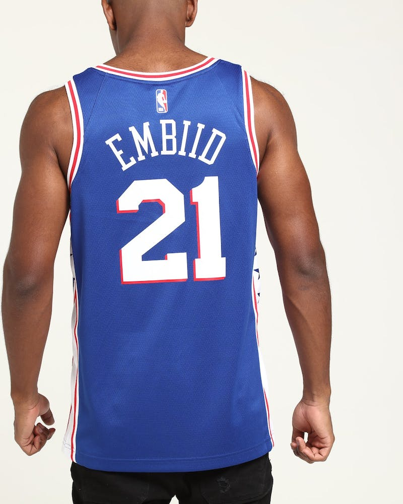 Joel Embiid #21 Philadelphia 76ers Nike Icon Edition Swingman Jersey Blue/White/Red