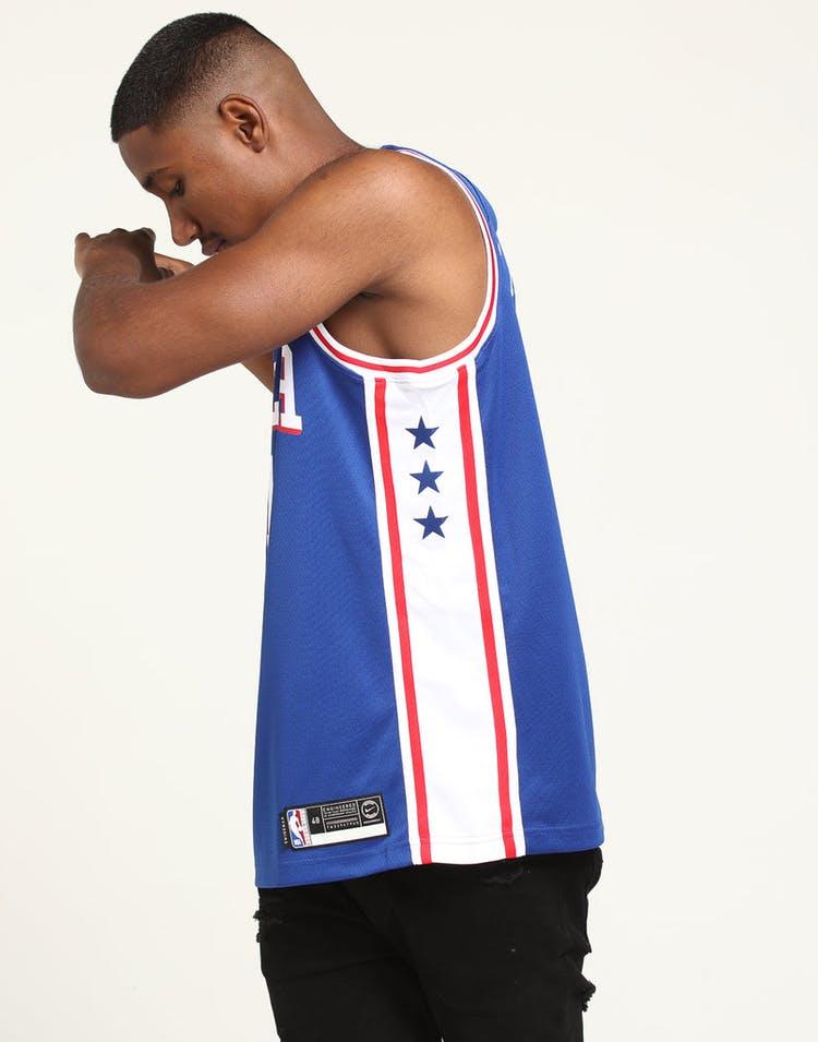 27b5efd6a2e2 Joel Embiid  21 Philadelphia 76ers Nike Icon Edition Swingman Jersey Blue  White Red
