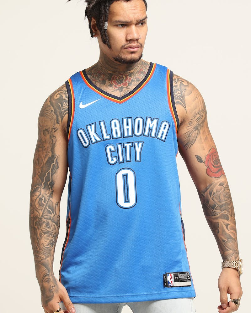 Russell Westbrook #0 Oklahoma City Thunder Nike Icon Edition Swingman Jersey Blue/Navy