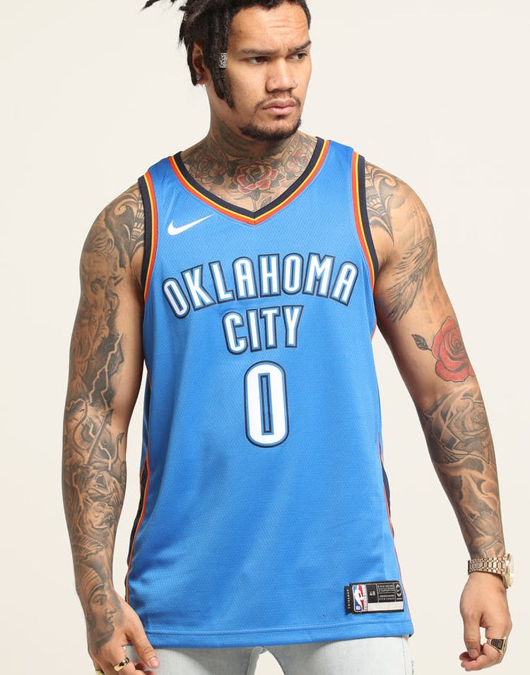 official photos 240f6 d0a46 Russell Westbrook #0 Oklahoma City Thunder Nike Icon Edition Swingman  Jersey Blue/Navy