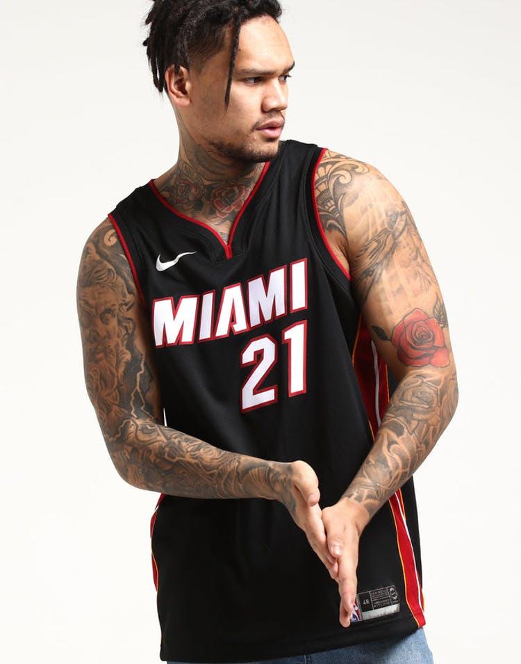 newest c40f2 a89bf Hassan Whiteside #21 Miami Heat Nike Icon Edition Swingman Jersey Black/Red