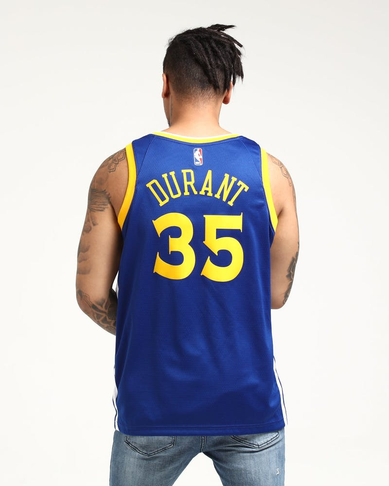 Kevin Durant #35 Golden State Warriors Nike Icon Edition Swingman Jersey Blue/White/Yellow