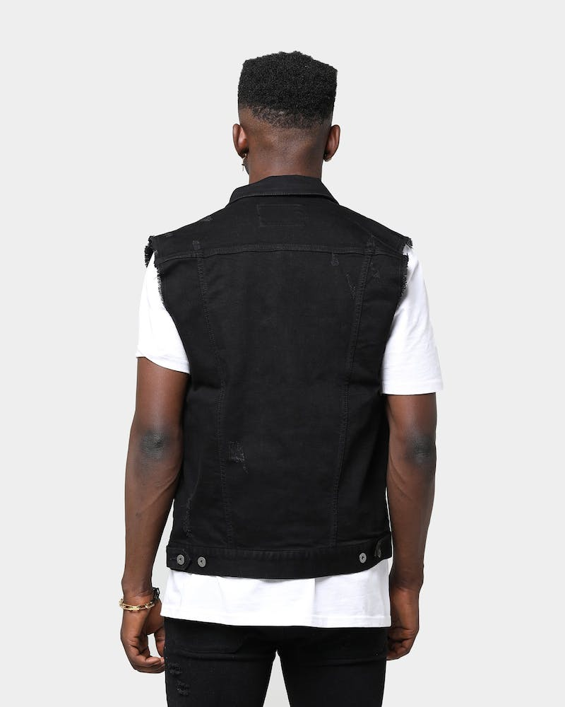 ENES Distressed Denim Vest Black