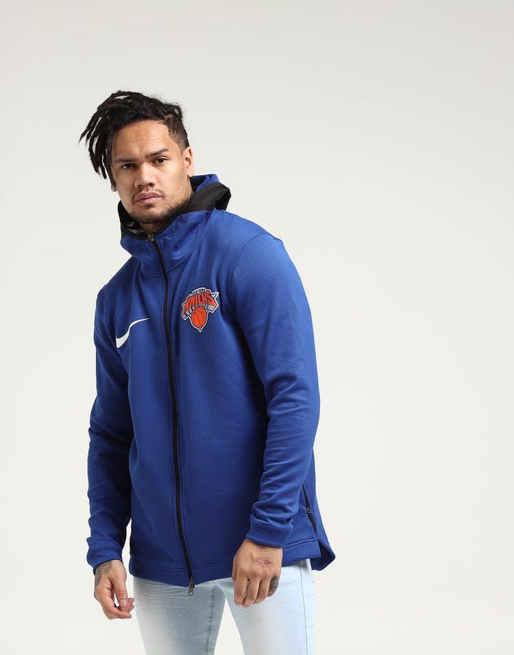 8d29d495 New York Knicks Nike Therma Flex Showtime Hood Blue/Black/White ...