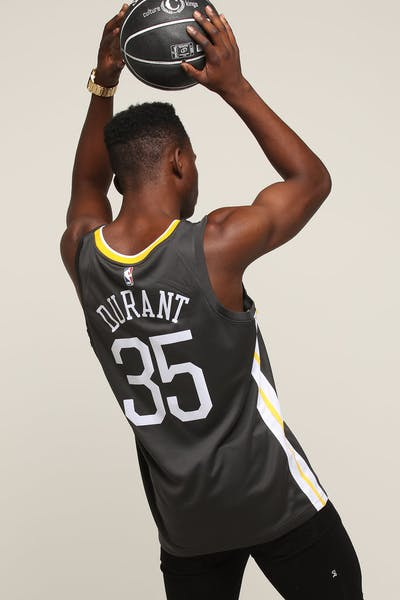 new products f9aaa b7349 Nike Golden State Warriors  35 Kevin Durant Alternate Swingman Jersey  Grey White Yellow ...