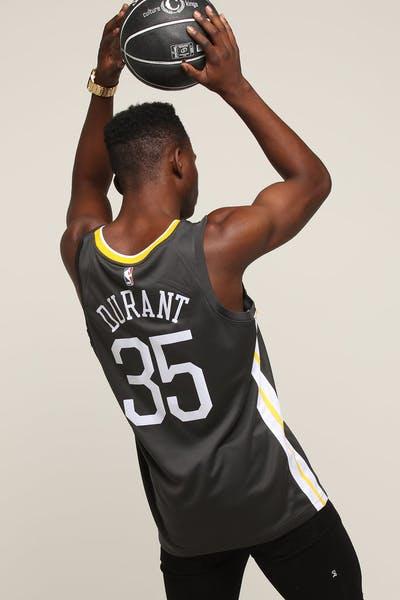 1b9beb4e59f Nike Golden State Warriors #35 Kevin Durant Alternate Swingman Jersey  Grey/White/Yellow