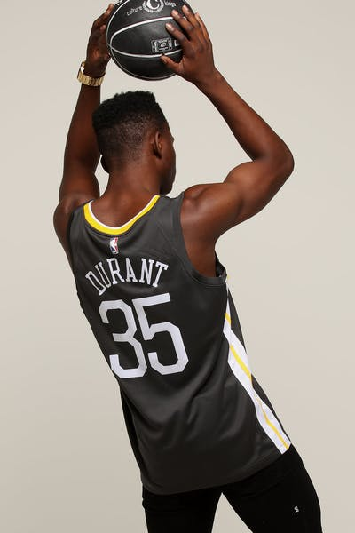Nike Golden State Warriors  35 Kevin Durant Alternate Swingman Jersey  Grey White Yellow 9b5927750