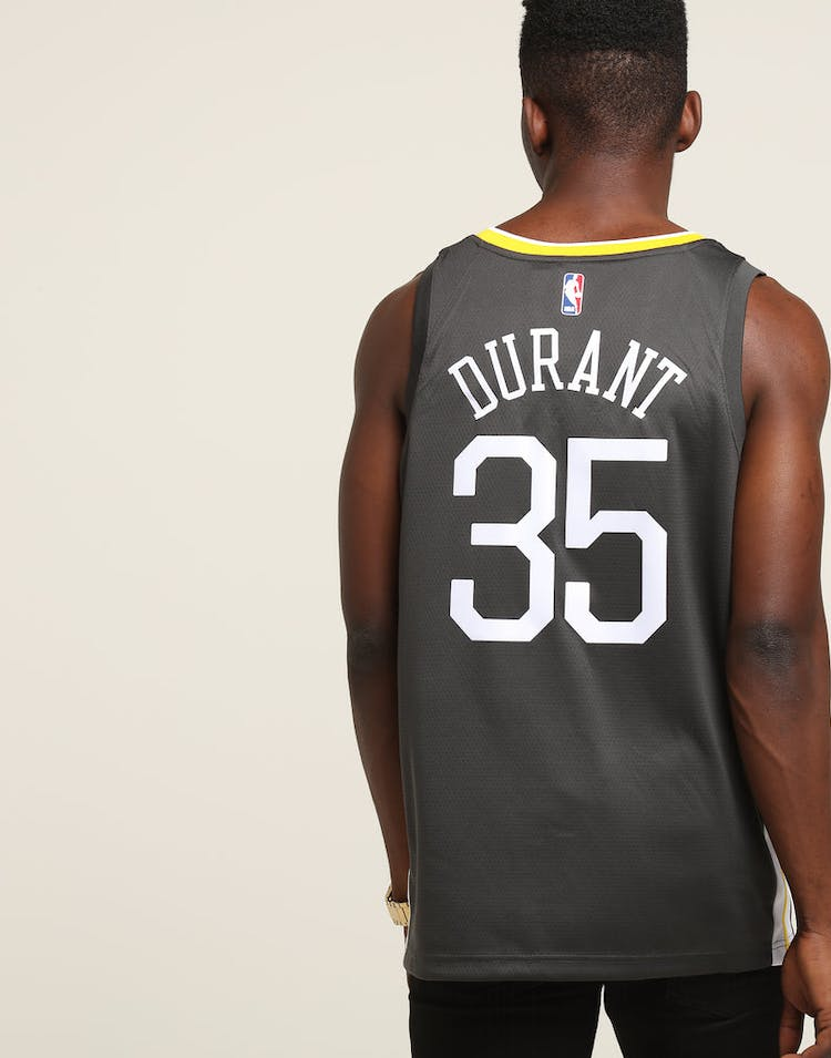 ed6f182eae3 Nike Golden State Warriors #35 Kevin Durant Alternate Swingman Jersey  Grey/White/Yellow
