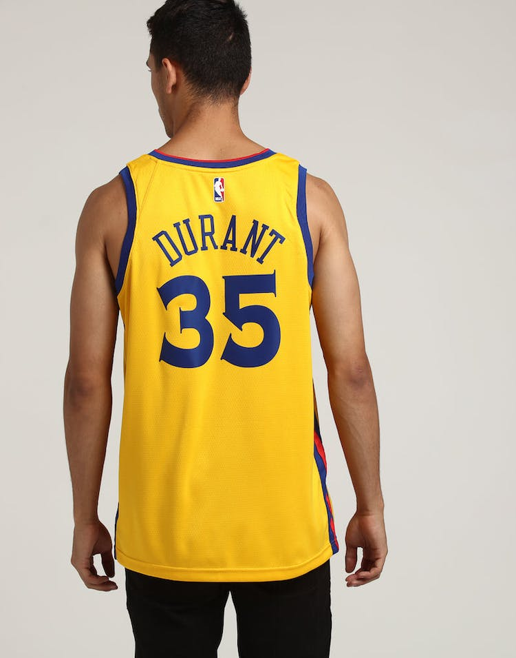 wholesale dealer e0513 de895 Nike Golden State Warriors #35 Kevin Durant City Edition Swingman Jersey  Yellow