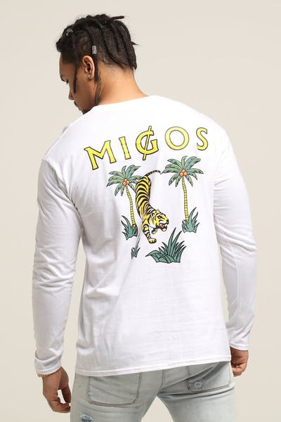 Migos Tiger Long Sleeve Tee White