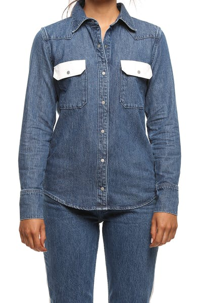 Calvin Klein Women's Western Lean Contrast Shirt Dark Blue/White