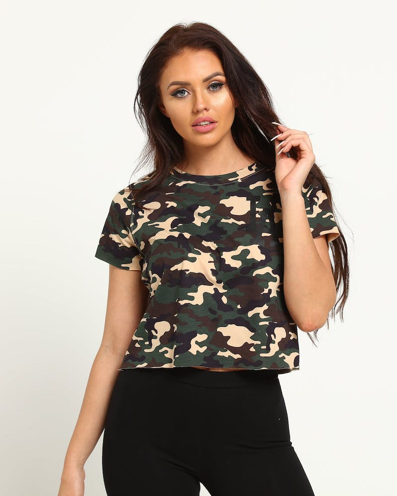 Majestic Athletic Women's Dodgers Rhonda Crop Tee Camo