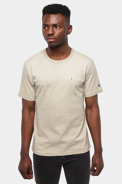 CHAMPION HERITAGE EMBROIDERED SCRIPT TEE COCOA BUTTER