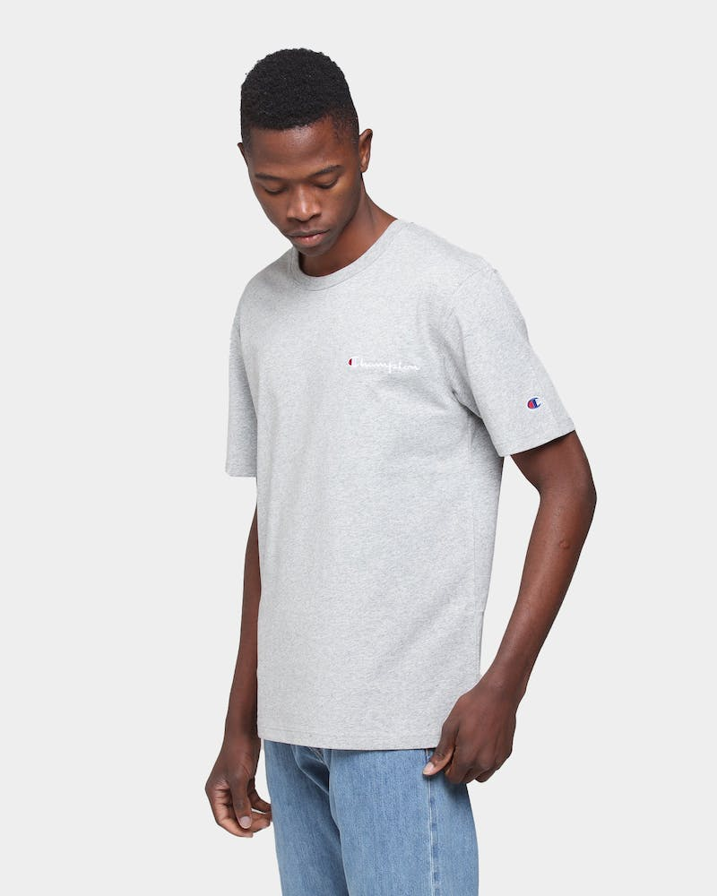 Champion Heritage Tee Emb Script Grey Heather