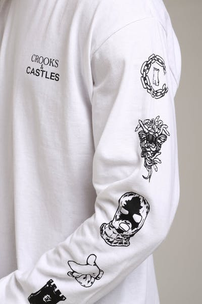 Crooks & Castles Etching Knit LS Tee White