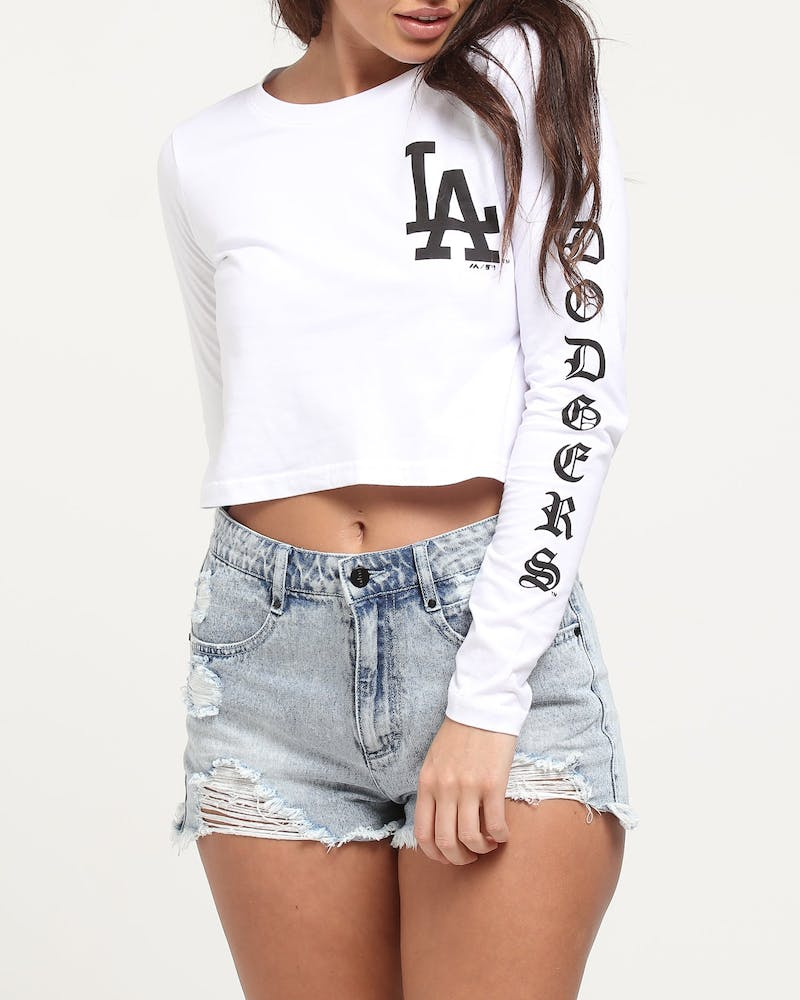 Majestic Athletic Women's Dodgers Gothic Long Sleeve Crop Tee White