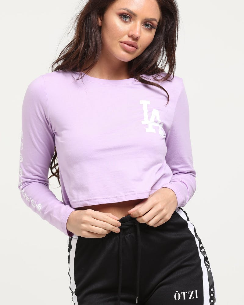 Majestic Athletic Women's Dodgers Gothic Long Sleeve Crop Tee Lavender