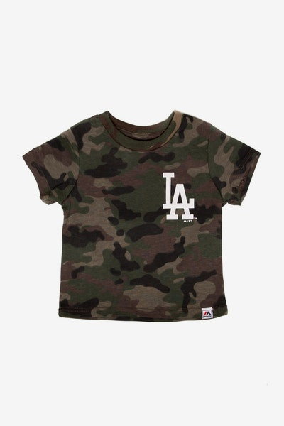 Majestic Athletic Toddler Los Angeles Dodgers Team Logo Tee Camo/White