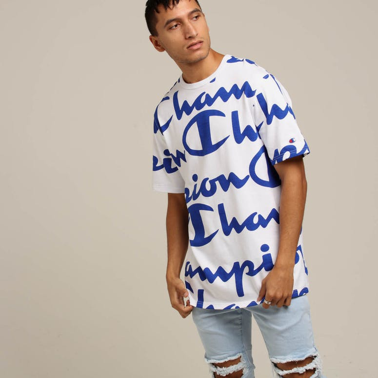 Champion Heritage Tee All-Over White/Blue