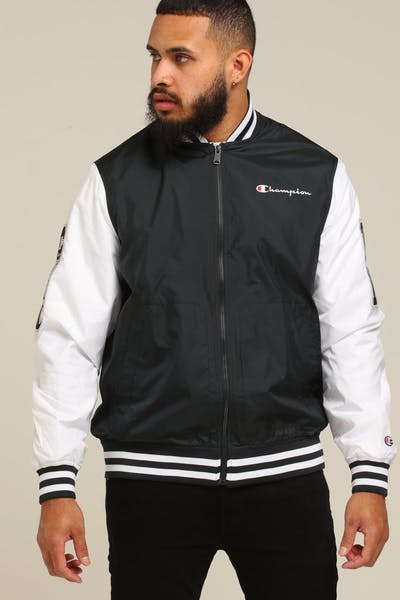 Champion Satin Baseball Jacket Black/White