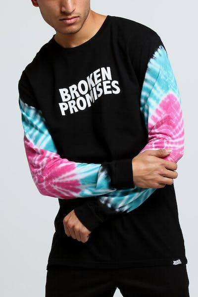 Broken Promises Wave Logo Elbow Dye L/S Tee Black/Teal/Purple