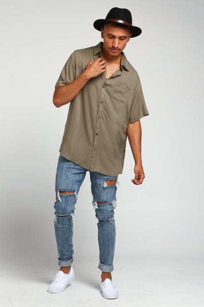 New Slaves Boating Button Up Shirt Olive