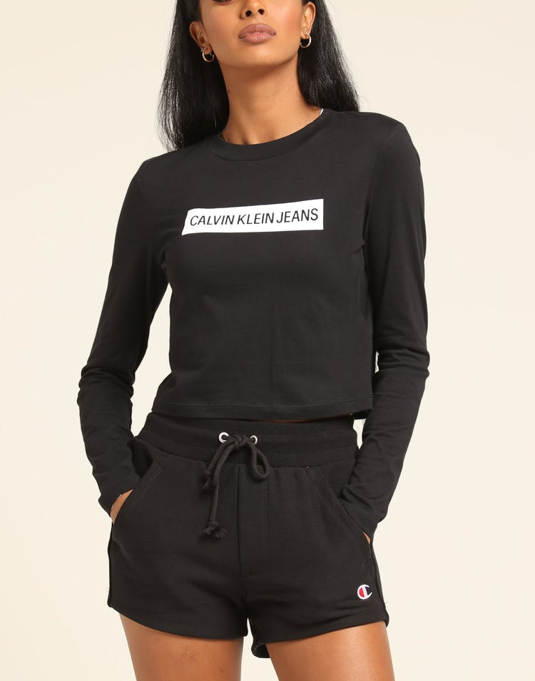Calvin Klein Women's Institutional Box Crop Fit Black/White